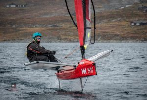 Foiling in the snow! WASZP Cup Norway Stage 3 at Lake Bygdin was a hardcore event with snow falling every day! Photo by Hartas Productions
