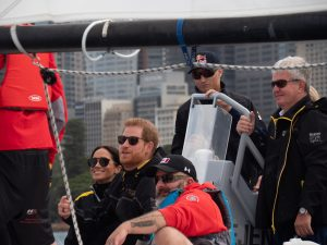 Prince Harry and his wife Meghan Markle on the water at the 2018 Invictus Games. Photo by Hartas Productions