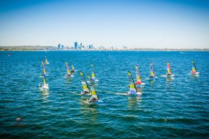 The Perth skyline provided a stunning backdrop to the epic racing at the 2019 WASZP Games. Photo by Hartas Productions